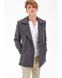 Forever 21 - Gray Heathered Wool-blend Peacoat for Men - Lyst