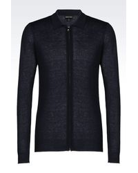 Emporio Armani - Blue Full Zip Cardigan In Silk And Cashmere for Men - Lyst
