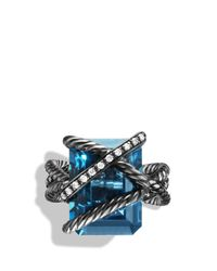 David Yurman | Metallic Cable Wrap Ring With Hampton Blue Topaz And Diamonds | Lyst