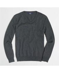 J.Crew - Gray Factory Slim Cottoncashmere Vneck Sweater for Men - Lyst