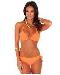 Missguided - Louella Halterneck Triangle Bikini Top In Neon Orange - Lyst