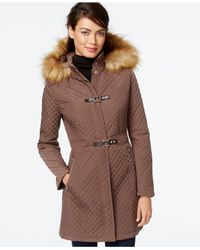 Ivanka Trump | Brown Faux-fur-trim Quilted Buckle Coat | Lyst