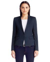 HUGO Blue Regular-fit Cropped Blazer In Stretch Wool