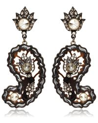 Lanvin - Black Brown Paisley Glass Clipon Earrings - Lyst
