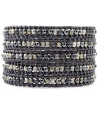 Chan Luu - Black Pyrite And Hematite Mix Wrap Bracelet On Natural Grey Leather - Lyst