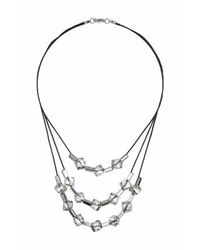 TOPSHOP | Black Cube Facet Multi-row Necklace | Lyst