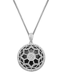 Lord & Taylor | Black Sterling Silver Onyx And Diamond Pendant Necklace | Lyst