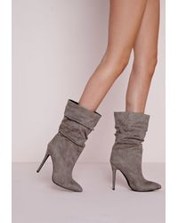 Missguided Gray Ruched Pointed Toe Ankle Boots Grey