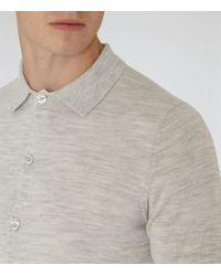 Reiss Gray Oracle Merino Wool Polo Shirt for men
