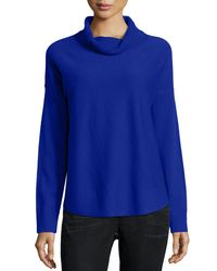Eileen Fisher - Blue Cozy Wool Cowl-neck Top - Lyst