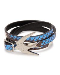 McQ | Blue Swallow Leather Wrap Bracelet | Lyst