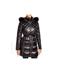 BCBGMAXAZRIA White Quilted Coat With Fox Trim