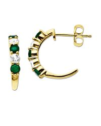 Lord & Taylor | Green White Sapphire And Emerald 14k Gold Hoop Earrings | Lyst