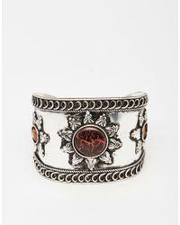 ASOS | Metallic Sun Stone Cuff Bracelet | Lyst