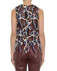 Christopher Kane Purple Rope-embroidered Mesh Top