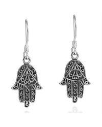 Aeravida | Black Swirl Accents Hamsa Hand Sterling Silver Earrings | Lyst