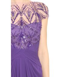 Monique Lhuillier - Purple Embroidered Jewel Neck Draped Gown - Lyst
