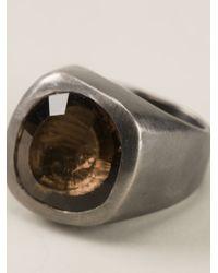 Rosa Maria Gray Garnet Stone Circle Ring