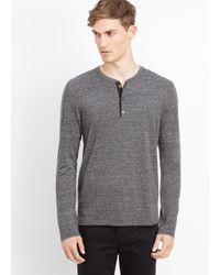 Vince Gray Cotton Jaspé Jersey Long Sleeve Henley for men