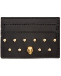 Alexander McQueen - Black Leather Studded Card Holder - Lyst