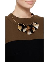 Marni - Blue Horn And Yarn Flower Necklace - Lyst