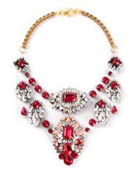 Shourouk Red 'scarlette' Bib Necklace