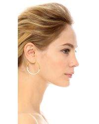 Tory Burch - White Dipped T Hoop Earrings - New Ivory/Shiny Gold - Lyst
