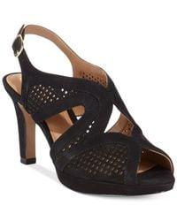 Clarks | Black Artisan Women's Delsie Grace Platform Sandals | Lyst