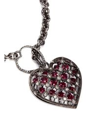 Lanvin | Pink Crystal Embellished Heart Pendant Necklace | Lyst