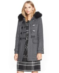 Burberry Brit | Gray 'blackwell' Wool Duffle Coat With Genuine Fox Fur Trim | Lyst