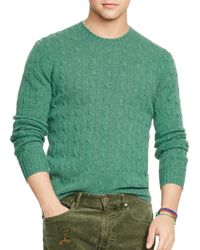 Pink Pony | Green Polo Cable-knit Cashmere Sweater | Lyst