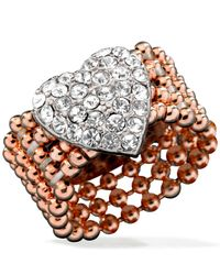 Guess | Pink Rose Gold-tone Bead And Silver-tone Pavé Heart Stretch Ring | Lyst