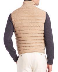 Ferragamo - Brown Suede Puffer Vest for Men - Lyst