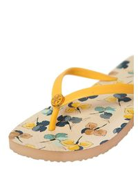 Tory Burch Yellow Floral Printed Rubber Flip Flops