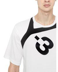 Y-3 - Black Logo Detail Cotton Jersey T-shirt for Men - Lyst