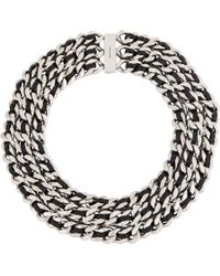 Saint Laurent | Metallic Leather Curb Chain Gourmette Choker | Lyst