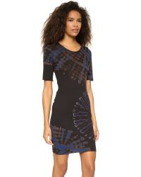 Raquel Allegra | Short Sleeve Fitted Dress - Black & Blues Tie Dye | Lyst