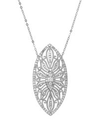Lord & Taylor | Metallic 14kt White Gold And Diamond Pendant Necklace | Lyst