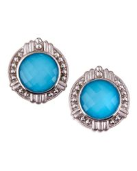 Judith Ripka - Blue Large Round Turquoise Doublet Earrings - Lyst