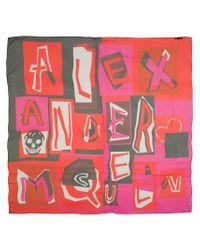 Alexander McQueen   Multicolor Logo Print Scarf   Lyst