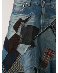Junya Watanabe Blue Patch Denim Skirt