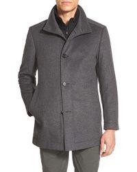 BOSS Gray 'coxtan' Trim Fit Wool Car Coat for men