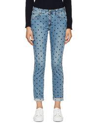 Stella McCartney Blue Embroidered The Skinny Boyfriend Jeans
