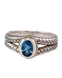 Lord & Taylor | Balissima Sterling Silver And 18kt Yellow Gold Ring With Blue Topaz Stone | Lyst