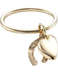 Annina Vogel - Metallic 9ct Yellow-gold Horseshoe Heart Vintage Charm Ring - Lyst