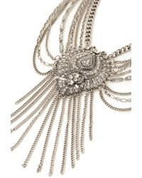 Forever 21 - Metallic Rhinestone & Fringe Statement Necklace - Lyst