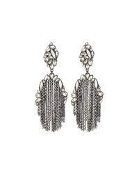 Alexis Bittar | Metallic Tassel Clip Moonlight Earrings W/ Rhinestones | Lyst