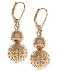 Lonna & Lilly - Metallic Gold-tone Filigree Drop Earrings - Lyst