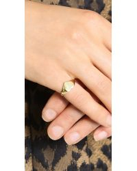 Jacquie Aiche - Metallic Ja Heart Signet Ring Topper Gold - Lyst