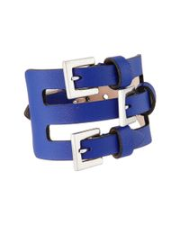 Alexander McQueen | Blue Multi Buckle Leather Cuff Bracelet | Lyst